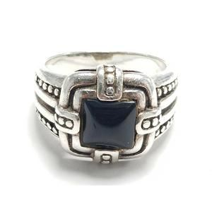 Women's Sterling Silver 925 Ring with Black Stone